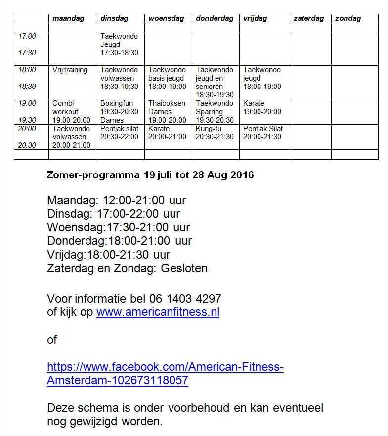 zomer programma en openingstijden